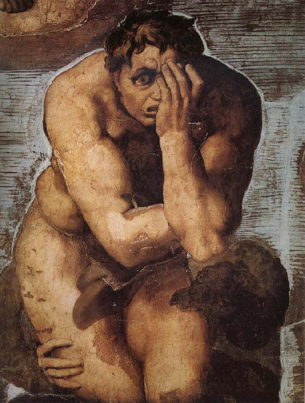 Michelangelo Buonarroti Damned soul descending into Hell